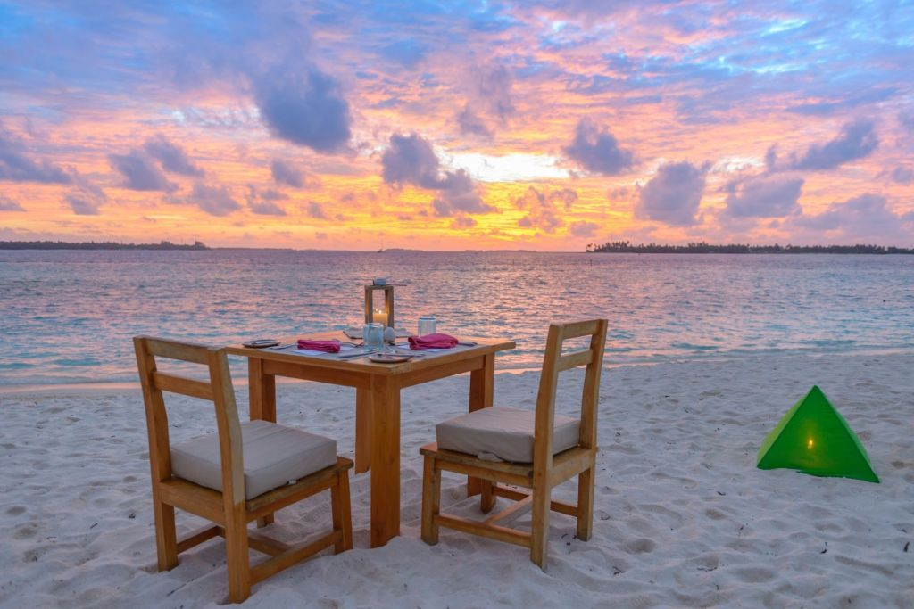 Dinner on a Secluded Sandbank in Maldives at Night